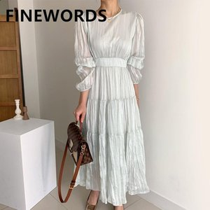 FINEWORDS Light Green Spring Elegant Pleated Dress Korean High Waist Vintage Dress Long Sleeve O Neck Gentlewomen Pary Dresses