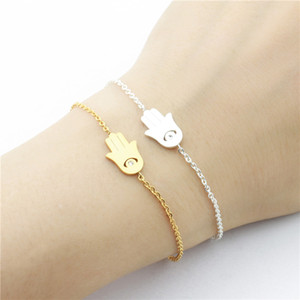 Good Luck Hamsa Charm Bracelet Turkey Evil Eye CZ Fatima Hand Symbol Handmade Jewelry Stainless Steel Gold Color Chain10