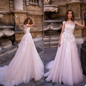 2021 Luxury Wedding Dresses Jewel Capped Sleeves Lace Appliques Bridal Gowns Custom Made Sweep Train A Line Wedding Dress