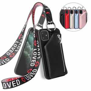 For iPhone 12 11 Pro Max XS XR X 8 7 Plus Leather Zipper Wallet Phone Case With lanyard Slot Cover