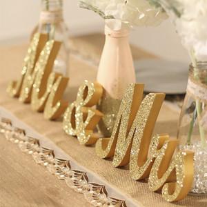 3 pz / set in legno MRS Sig.ra segni di nozze in legno wooden tavola di nozze numeri lettere decorazione giorno di San Valentino festa lettera segno