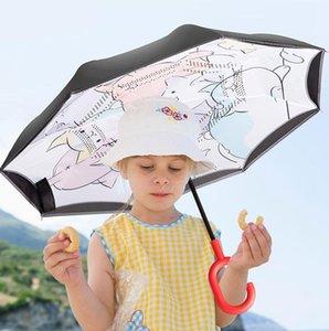 Ters Şemsiye Çift Katmanlı Ters Şemsiye Yansıtıcı Güvenli Çocuk Şemsiye Karikatür Hayvan Şemsiye Çocuk Hediye 9 Tasarımlar WZW-YW3790