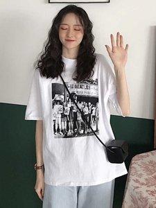 Harajuku Расслабленный студент Top с коротким рукавом женская мода весна корейский 2021 новый стиль половина рукава футболка