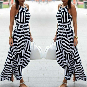 HOT New Womens Sexy Bandage Celebrity Long Maxi Dress Ladies Summer Casual Boho Stripe Chiffon Silk Beach Party Halter Sun Dress
