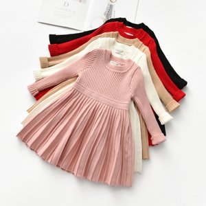 2021 New Kids Tales Long Sleeve Baby Princess Christmas Autumn Winter Party Tutu Ball Gown Knit Clothes for Girl Cnxr
