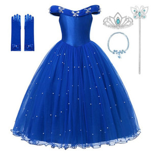 Princess Cinderella blue Dress Up Clothes Girl Off Shoulder Pageant Ball Gown Kids Deluxe Fluffy Bead Halloween Party Costume One Shipping1