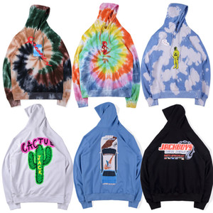 타이 염색 Travis Scott Astroworld Tour Astronaut Hooded Women Men Hoodies 1 : 1 Best Tie dyeing Sweatshirts ASTROWORLD Pullover