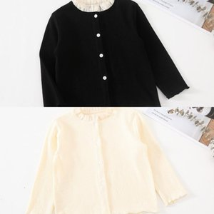 style Autumn korean New Arrival cotton hot selling long sleeve splicing knitted t-shirt coat for cute sweet fashion baby girls 8SIL