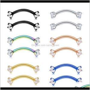 TRAGUS orecchino internamente cubico zircone in acciaio inox curvo barbell piercing sopracciglio anello gioielli corpo qhhea 38uy2