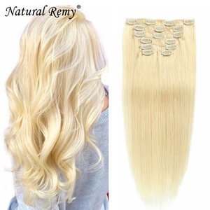 Clip In human hair extensions 1#1B#2#4#27#613# 14-26inch 80-180g