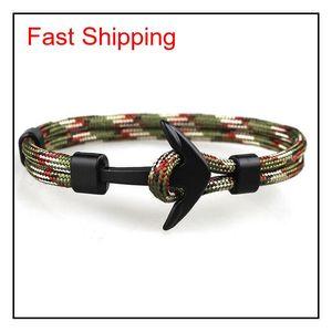 Viking Jewelry Mens Black Alloy Pirate Nautical Navy Anchor Bracelets Rope Woven Bracelet For Women Men Fr jllNwJ dh_garden