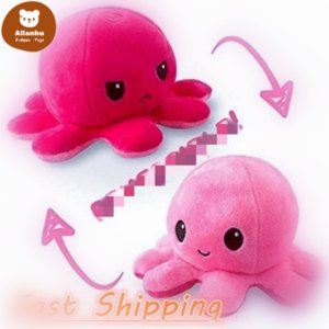 28 Styles Reversibles Flip Octopus Stuffed Soft Double-sided Expression Plush Toys Baby Kids Gift Doll Wedding Festival Party Supplies DHL Shipping TU