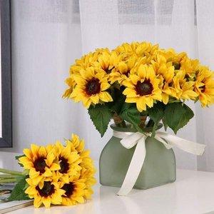 장식 꽃 화 환 6 pc 인공 해바라기 꽃다발 웨딩 신부 신부 들러리에 대 한 줄기와 가짜 해바라기 꽃 홈
