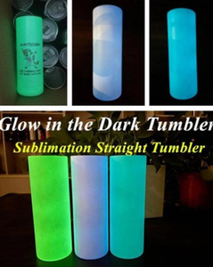 20oz DIY Sublimation Blank Straight Tumblers Luminous Vacuum Insulated Glow In The Dark Mugs Luminescent Staliness Steel Water Bottles Cups