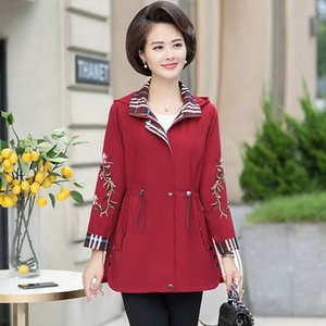 Women's Trench Coats Abrigos Mujer Temperament Middle-aged Fashion Spring Autumn Casual Loose Embroidered Outwear Thick Windbreaker Z330