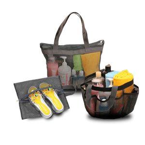 Büyük boy örgü çanta ile 8 yan cepler plaj banyo yüzmek çanta ayakkabı terlik depolama net makyaj kozmetik çanta yıkama çamaşır yıkama tote g32qhhj