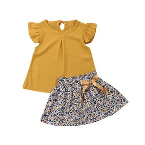 2021 Children Summer Clothing 1-5Y Toddler Kid Baby Girl Clothes Sets Yellow Chiffon Tops+Floral A-Line Skirt Outfits Clothes