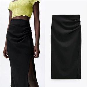 Za Black Pencil Women Skirts High Waist Long Summer Pleated Midi Ruched Elegant Split