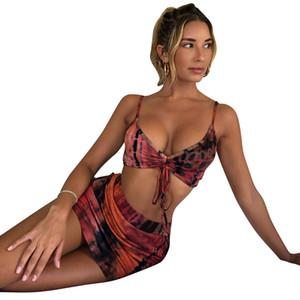 Bikini Female 2021 Swimsuit Push Up Mini Set New Three Piece Skirt Two Wear One Hair Print Polyester Solid Swimwear Ladies Swim 1d1h