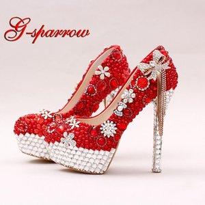 Красный цвет Великолепная жемчужная свадебная обувь Rhinestone Bow Tassel Свадебное платье Обувь Женская вечеринка выпускного вечера Высокие каблуки Леди Валентина Насосы