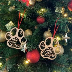 Halloween christmas decoration Customized Christmas Sculpture Poison Tags Dog Ornament Wooden Ball Named 0915