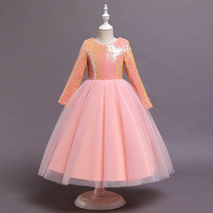 Long Girls Dresses Childrens Dresses Lace Sequin Long Sleeve Princess Formal Dresses Pettiskirt Party Kids Clothes 5-12Y B4036
