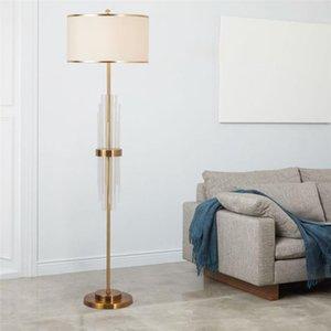 Nordic Modern Bakır Lüks Kristal Zemin Lambaları Ayakta Oturma Odası Yatak Odası Başucu Kumaş Gölge Çalışma E27 Zemin Işık Armatürleri