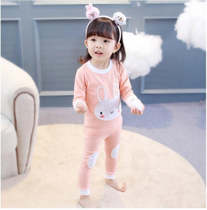 Girl Pajamas sets Baby Long Sleeve Rabbit Whale Printed Pajamas suits Clothing Kids Autumn Nightclothes Suit Two pieces Christmas Nightwear