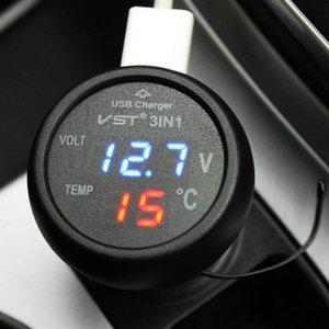 12V 24V Digital Meter Monitor 3 in 1 LED USB Car Charger Voltmeter Thermometer Car Battery Monitor LCD Digital Dual Display