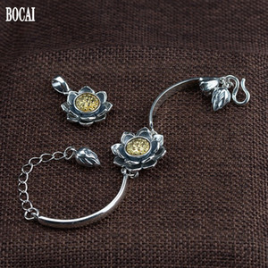 2021 New Real S925 Pure Jewelry Thai Sier Craft Pendant bracelet Set Lotus Rotating Woman Bracelet T4lu