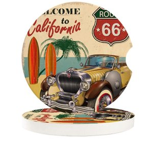 Table Runner Retro Car Seaside Beach Poster California Cup Mat Contrast Mug Flower Teacup Pad For Home Decor Accessories