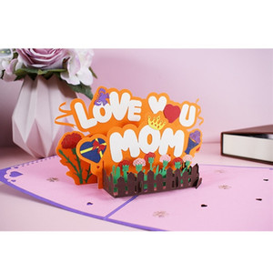 Mother Birthday Greeting Card Creative 3D Pop-Up Love U Mom Greeting Card for Birthday Thanksgiving Day BWB5190