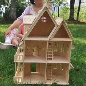 Madeira 3D Puzzle DIY Doll House Modelo Modelo Montado Miniature Dollhouse Educacional Fingir Brinquedos Brinquedos Para Crianças Meninas