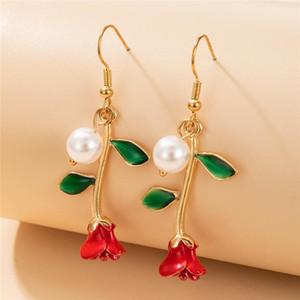 2021 Neue Perle Rose Ohrringe Frauen Legierung Gold Lange Ohrringe passende Kleidung Modeschmuck Valentinstag Geschenk