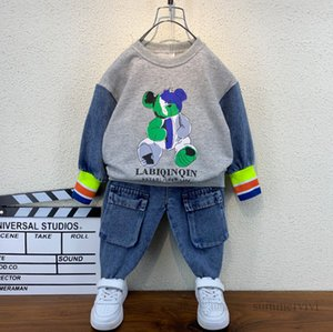 Autumn kids cartoon anime clothing sets boys letter printed patchwork color long sleeve sweatshirt+double pocket jeans 2pcs children causal outfits Q2268