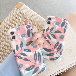 Flower Leaf Phone Case For iPhone 12 11 Pro Max XR XS Max X 7 8 Plus Camera Protection Matte Soft Cover For i 12 Mini SE2