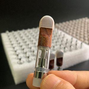 cartridge vape for Dabwoods carts 0.5ml 1.0ml Wood Tips Empty Glass Tank Vape Pen 510 Atomizers Ceramic Coil 2.0mm Intake