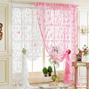 Butterfly Curtains Tulle Voile Curtains Printed Kitchen Curtain Window Cortinas Living Sheer for Room Bedroom Z