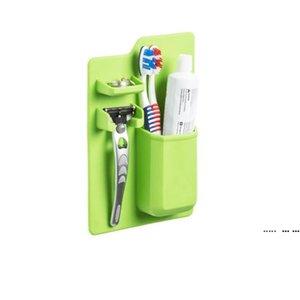 Soft Silicone Bathroom Organizer Toothbrush Holder Bathroom Suck on Mirror Toothpaste Shaver Organizer Storage Box FWF5424
