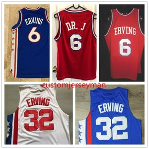 DJ # 6 Erving College Umass Massachusetts Minutemen # 32 Julius Dr. J Erving Throwback Basket Basket Jersey Mens Cucita Taglia personalizzata S-5XL