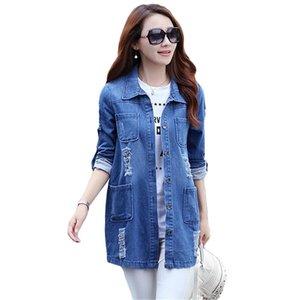 2021 Autunno Moda Donna Denim Jacket Jacks Jeans Top Blouses Cappotto Casual Manica Lunga Pocket Pocket Blue Slim Shirts Top di grandi dimensioni