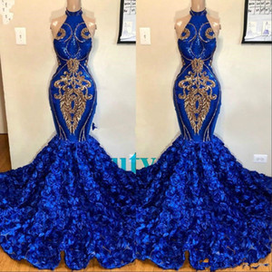 Africa Royal Blue Mermaid Prom Dresses With Rose Floral Halter Plus Size Formal Evening Gown Spark Sequin Applique Sweet 16 Quinceanera 2021