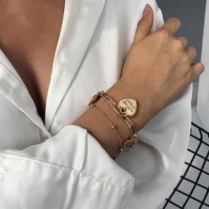 Lien, chaîne européenne et américaine d'été mode d'été simple d'amour bracelet d'accessoires multicouche plaqué or