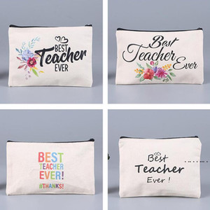 Square Blank Sublimation Pencil Case Creative Canvas Zipper Cosmetic Bag Fashion DIY Painting Student Pencil Case Storage Bag EWF5316