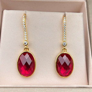 HBP luxury pure Tremella nail fashion Japanese and Korean ear hook simple inlay 9 * 11 red corundum versatile female jewelry
