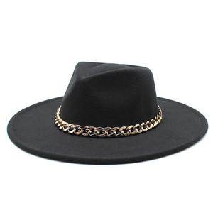 Estilo Britânico Wool Fedoras Tampão Com Cadeia De Metal Estilo Clássico Homens Mulheres Panamá Sentido Chapéu Livre Brim Das Senhoras Vestido Jazz Chapéu