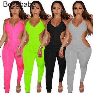 2021 Designer Verão Novas Mulheres Sexy Jumpsuit Sólido Plissado Hollow Out Sleeveless Onesies Moda Leggings Casuais Macacos 835