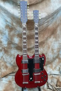 Fabrika Mağaza Şarap Kırmızı Çift Boyun 12 6 Dizeleri Çift Boyun LED Zeppeli Sayfa Siyah Yaşlı Relic Eds 1275 SG Elektro Gitar