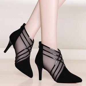 2020 estate scarpe da donna striscia scava fuori signora sandali 10cm tacchi alti sexy peep toe slingbacks donna sandalo nero e8u4 #