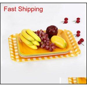 27*20cm 33*25cm Rectangular Breakfast Plate Plastic Tray Hotel Cake Fast Food Bread Fruit T jllBvN bdesybag